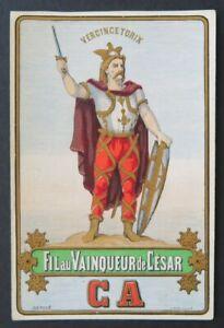 Ancienne-etiquette-FIL-DE-LIN-VERCINGETORIX-CESAR-french-linen-thread-label-3