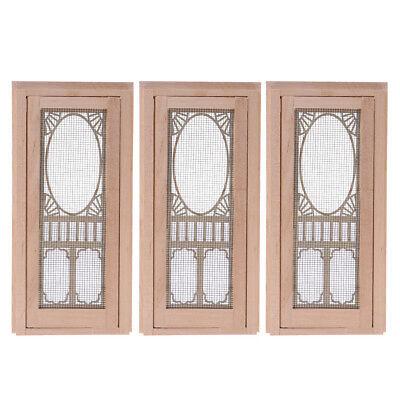 3pcs 1//12 Wood Hollow Screen Single Door Dollhouse DIY Accessories Unpainted