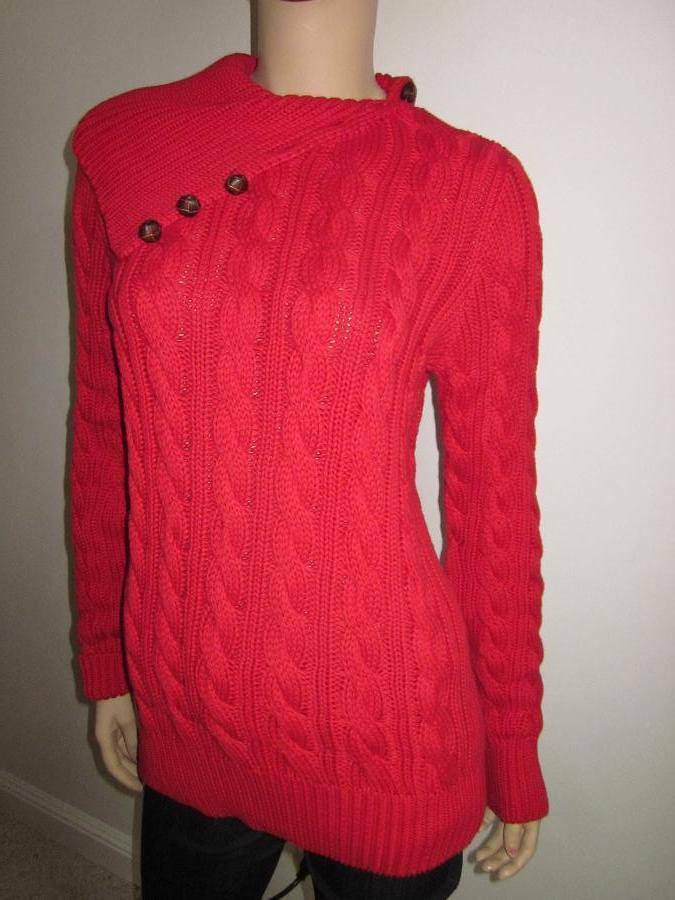 Ralph Lauren RED CABLE KNIT SWEATER LEATHER BUTTONS NWT