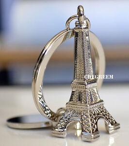 Image is loading Silver-Metal-3D-Mini-Eiffel-Tower-Keyring-Keychain- 983fd5771e3f