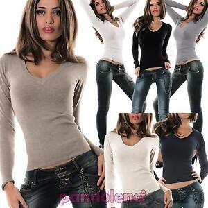 NUOVA donna maglioncino scollo profondo taglia 22 Nero 100/% Acrilico