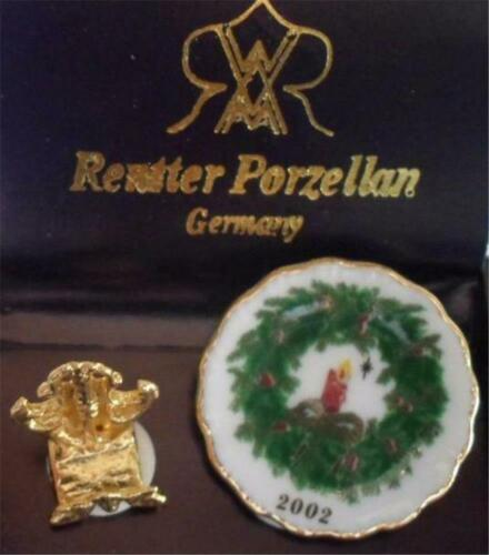 """2002 Christmas Plate /& Stand Dollhouse Miniature Reutter Porcelain Retired 1/"""""""