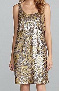 88dc6be73a359 Antonio Melani Sleeveless Cocktail Dress Size 4 Maddy Sequins Tiered ...