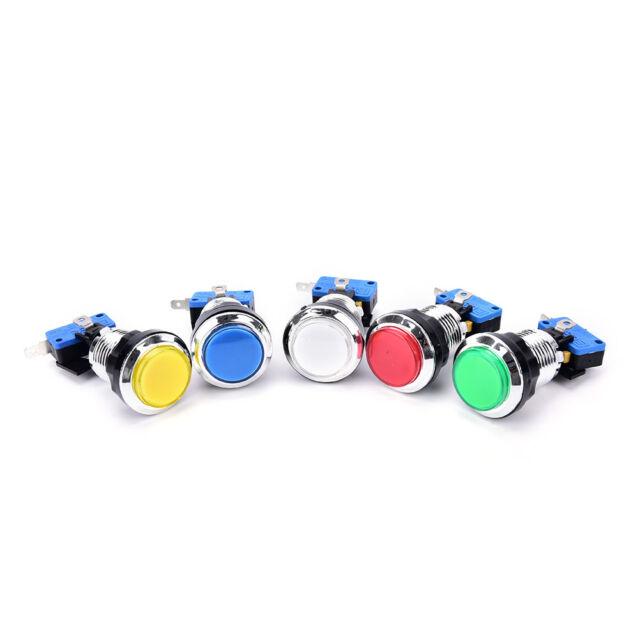 1 pcs chrome plated illuminated 12v LED arcade push button with microswitch HF