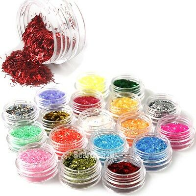 18 Color Lace Glitter Pot Striping Sliced Foil Holographic Nail Art Tips DIY Kit
