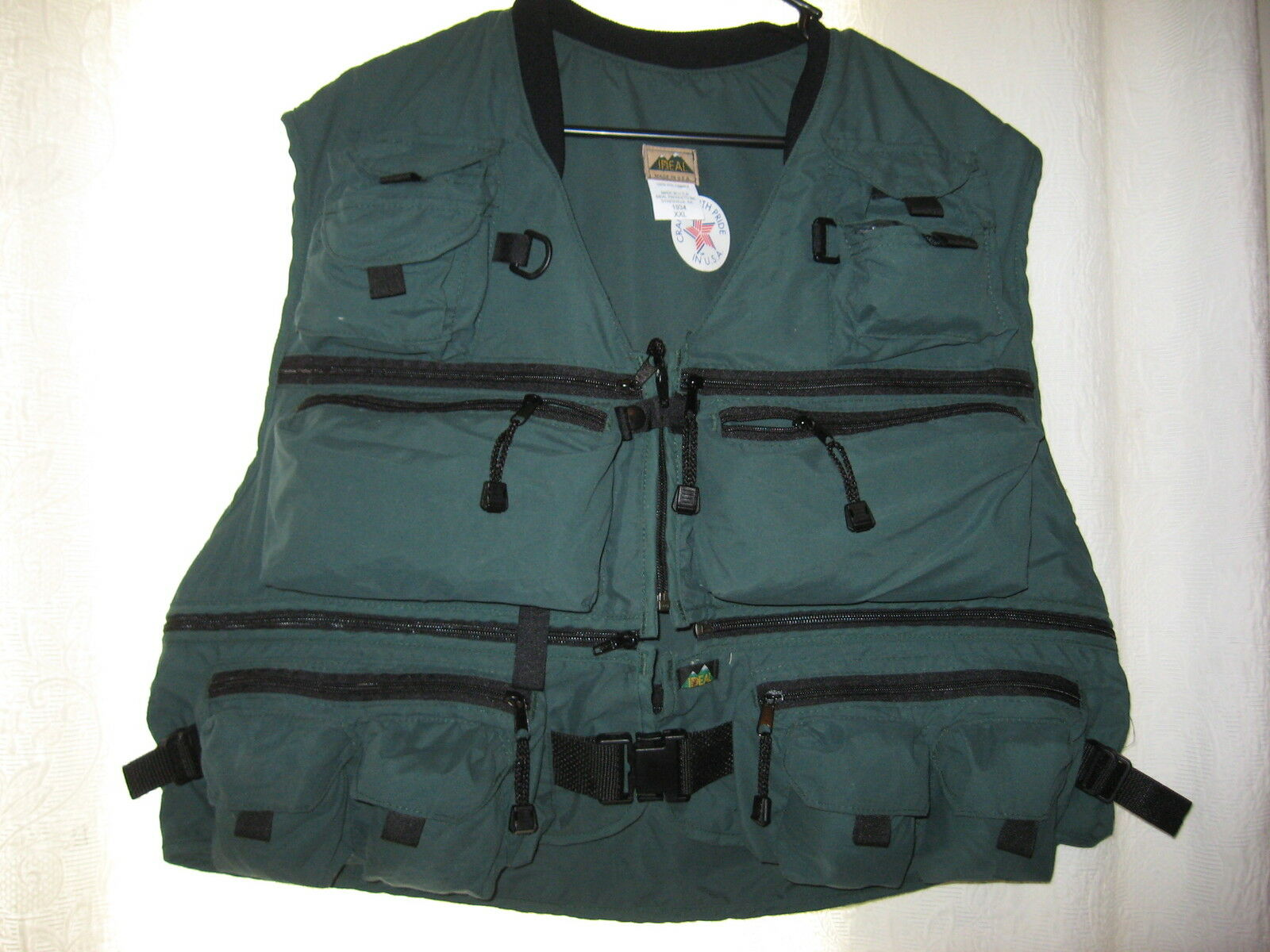 NEW Ideal Forrest Green Deluxe 3-IN-1 Microsuede Fly Fishing Vest, L XL 2XL 3XL