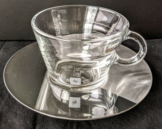 New NESPRESSO VIEW Cappuccino Collection Set 2 Glass Cups & Stainless Saucers