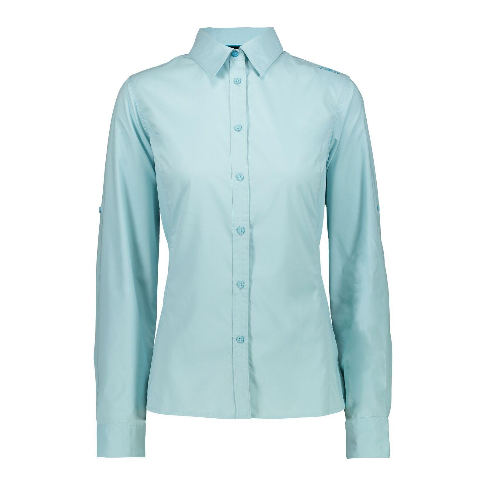 CMP  bluese Woman Shirt hellblue atmungsaktiv elastisch UV-Schutz Unifarben  free shipping & exchanges.