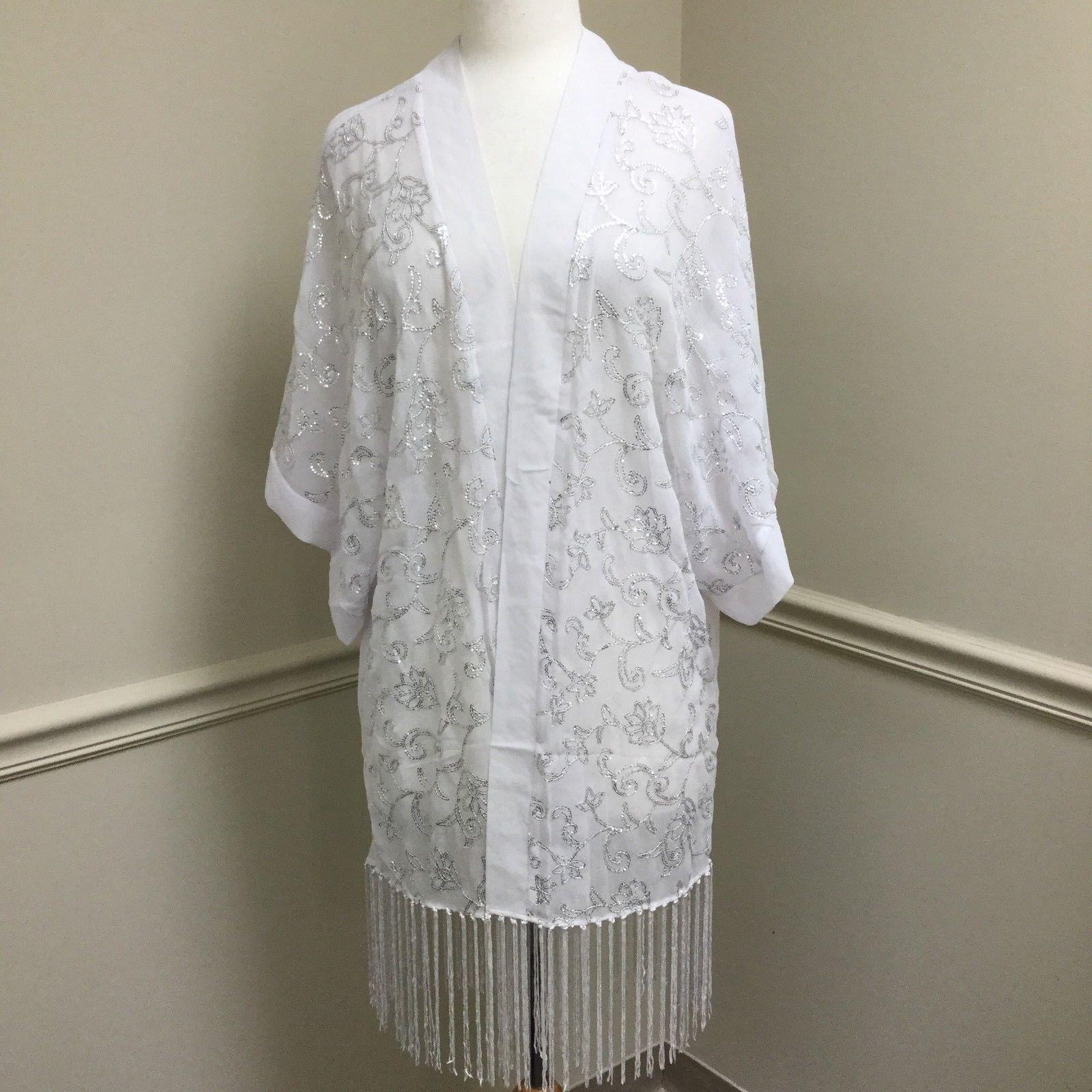 Blue by Betsey Johnson White Beach Wedding Bridesmaid Chiffon Kimono Robe Sequin