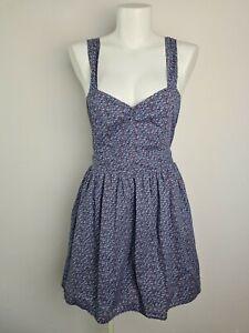 Dangerfield Floral Fit & Flare Open Back Tie Dress Women's Size 10 Sweetheart