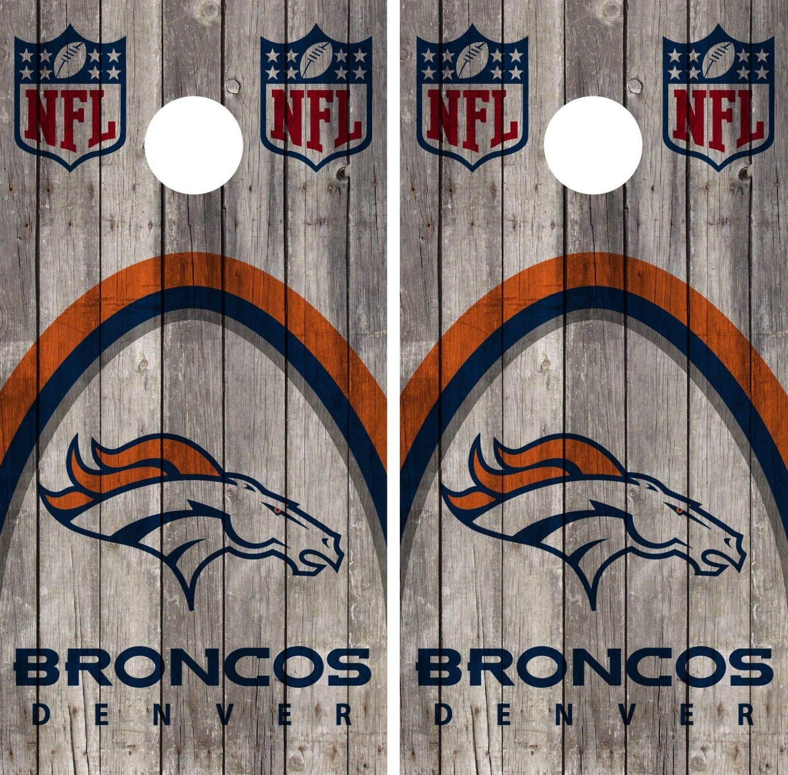 Denver Broncos Cornhole Wrap NFL Wood Game Skin Board Set Vinyl Decal CO63