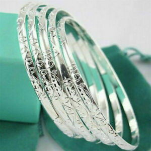 5Pcs-925-Silver-Filled-Carving-Cuff-Bracelet-Bangle-Jewelry-Sets-For-Women-Lady