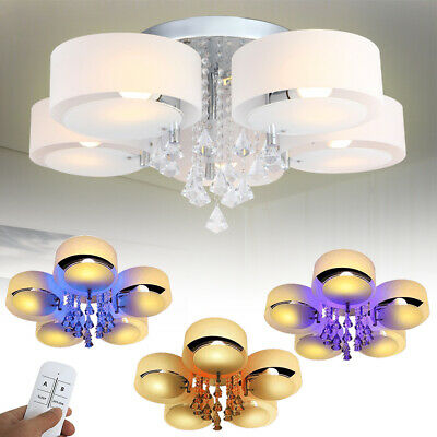 7 Flammig E27 LED Kristall Deckenleuchte Wohnzimmer Kronleuchter Warmweiß RGB DE