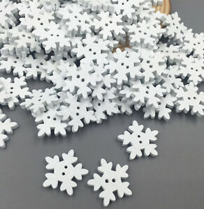 100pcs Christmas Holiday Wooden Collection Snowflakes Buttons Snowflakes Embellishments 18mm Creative Decoration Apparel Sewing & Fabric