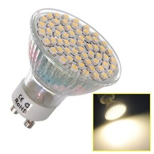 GU10 60 LED 3528 SMD 5W Warm White High Power Spot Light Lamp Bulb AC 220V
