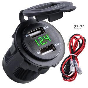 4.2A Car Cigarette Lighter Socket Dual USB Charger Adapter LED Voltmeter 12V-24V