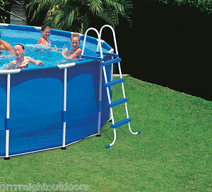 Intex above ground swimming pool ladder w barrier 48 for Piscina 1000 litros