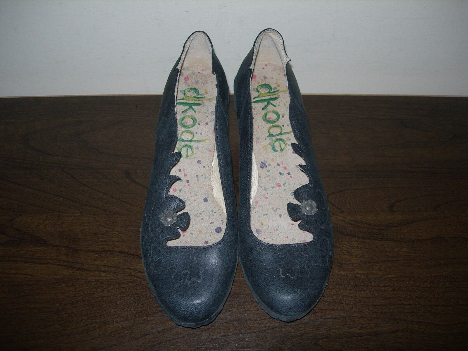 DKODE WOMEN'S Schuhe SLIP FLORAL ON HEELS BLACK LEATHER FLORAL SLIP EU 37- 37.5 / UK 4- 4.5 759839