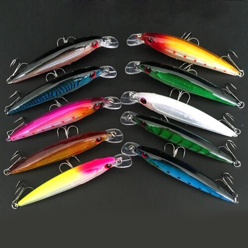 10PCS Lot Laser Internal Coloring Minnow Floating Fishing Lures Bass CrankBait