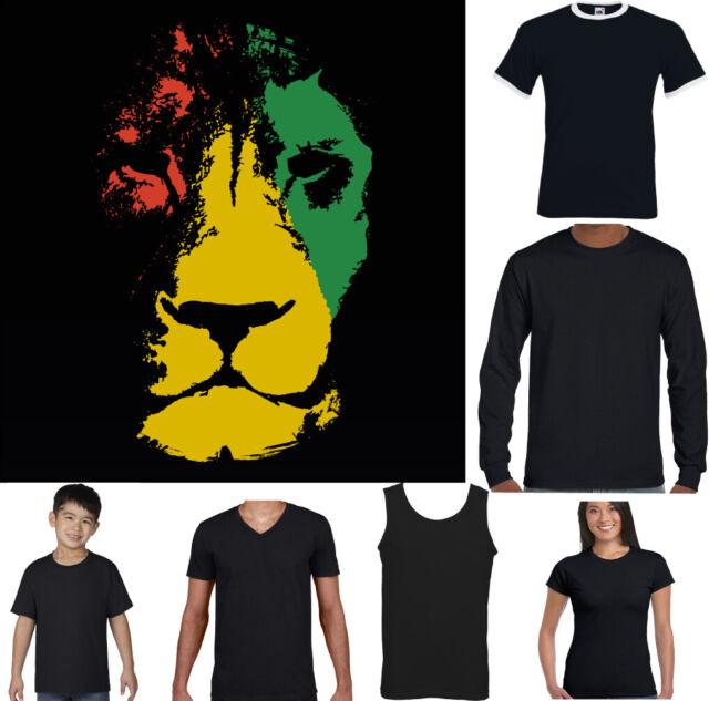 Jamaica Lion Mens Reggae T-Shirt Jamaican Bob Marley Flag Rastafarian Rasta