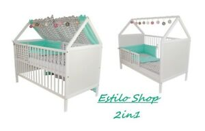 Scandinavian-Style-House-Cot-Bed-White-Wood-Baby-Mattress-Convertable-3-position
