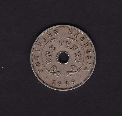 Africa Coins: World Honesty 1939 Southern Rhodesia One Penny Coin Last Style