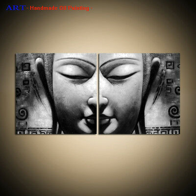 Wall Art Framed Modern Black and white Buddha Abstract Oil Painting on Canvas
