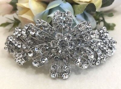 Crystal Rhinestone CZ Silver Tone Alloy Barrette Hair Clip BD07 Elegant Clear S