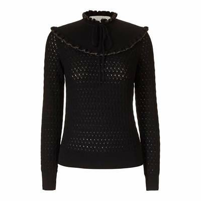 Rigoroso Orla Kiely Ruffle Bavaglino Stitch Cardigan Nero M | Cappotto Vestito Blusa Giacca-mostra Il Titolo Originale