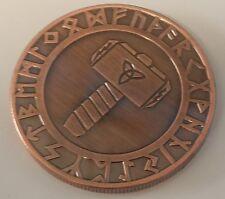 Viking Hammer of Thor & Compass Bronze Coin Medallion Token Valhalla Norse