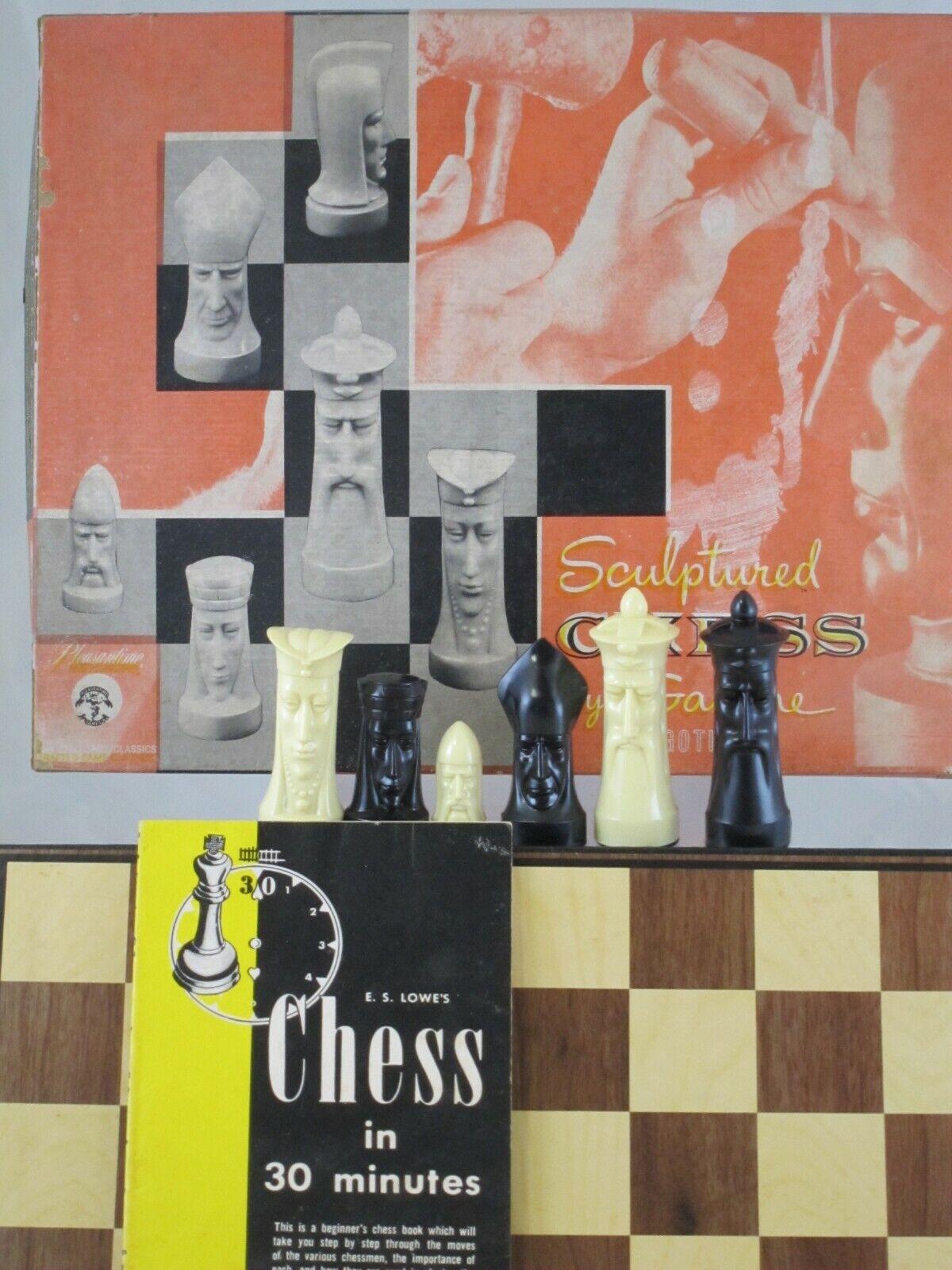 Vintage Ganine à peine utilisé 1957 gothiques  sculptés Chess Set brutalist Mid Century  meilleure réputation