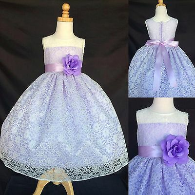 Ivory Lace Flower Girl Dress Lilac Detail Summer Pastel Easter Spring Toddler #3