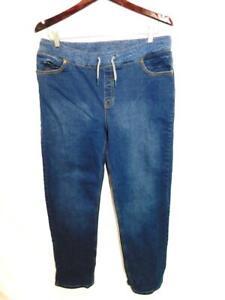 Lands End XL 18W 20W Blue Jeans Knit Drawstring Waist Straight Leg Denim Pockets