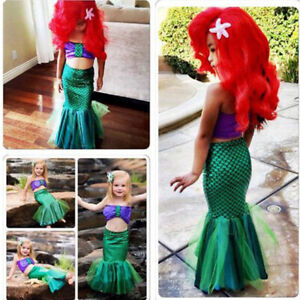 Kid Ariel Little Mermaid Set Girl Princess Dress Party Cosplay Costume Outfits