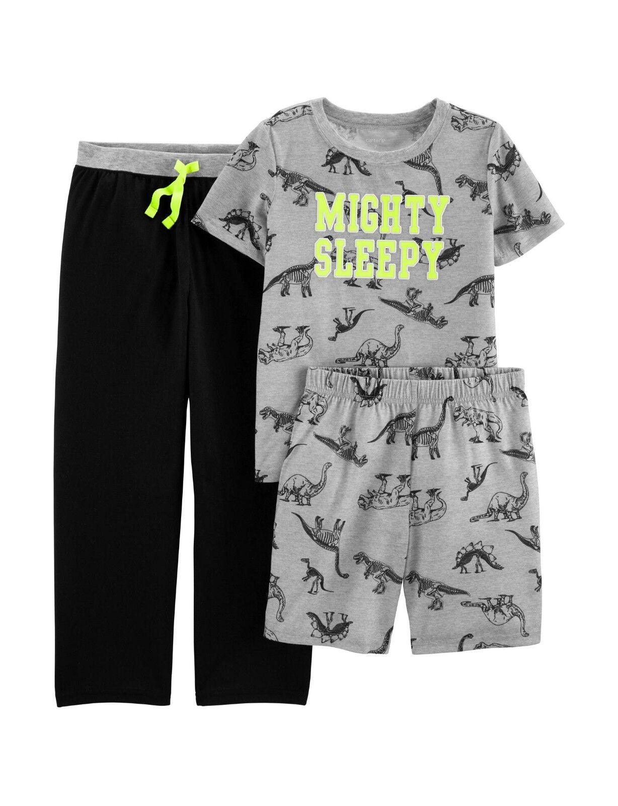 New Carter/'s 3-Piece Mighty Sleepy Dinosaur Pajama Set Boys 6 7 8 10