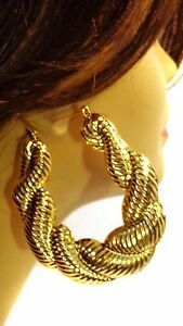 Image Is Loading Large Puffed Rope Hoop Earrings Gold Tone Old