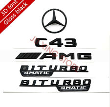 POIJK Gloss Black C220 Rear Boot Badge Emblem Letter Number Compatible For C Class W202 W203 W204 W205 AMG