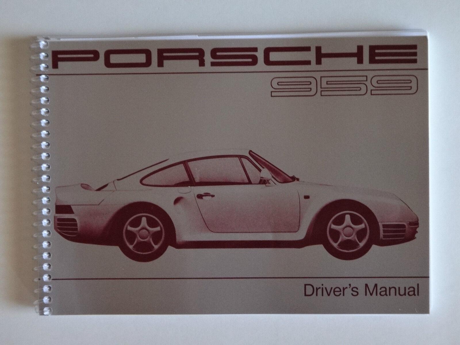 PORSCHE 1988 - 89 959  OWNERS MANUAL BOOK
