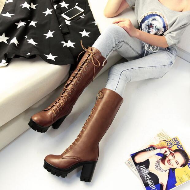 Womens Knee High Boots Chunky High Heels Retro Warm shoes Platform British