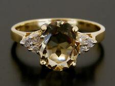 Bague or jaune 14k, Citrine et diamants, Livrée avec Écrin, facture & certificat