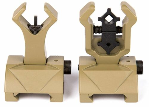 AIRSOFT FRONT BACK SIGHTS IRON SIGHT TAN DE FLIP UP DIAMOND HEAD TROY STYLE