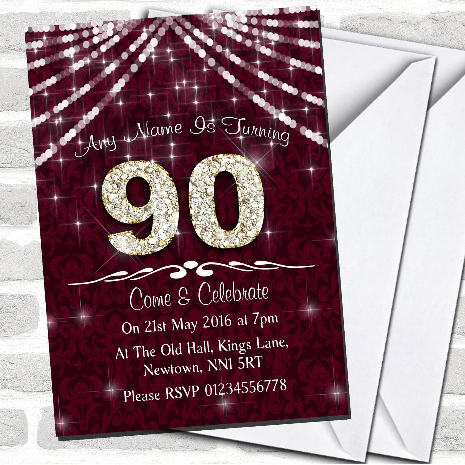 90Th blancoo y clarete Bling Sparkle Invitaciones de Fiesta de Cumpleaños