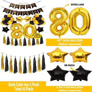 Details About 80Th Birthday Decoration BIRTHDAY PARTY DECORATIONS KIT Happy BLACK Banner Gold