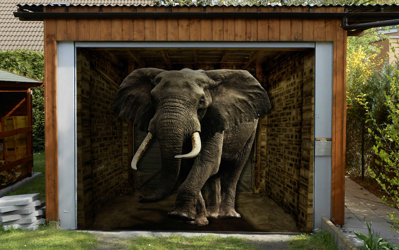 3D Big Elephant 08 Garage Door Murals Wall Print Decal Wall Deco AJ WALLPAPER IE
