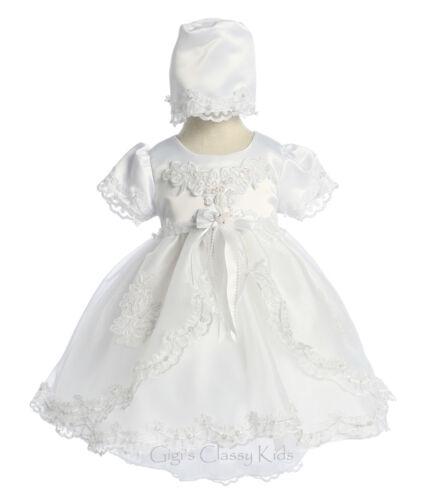 Baby Girls White Organza Christening Baptism Dedication Dress Gown w// Bonnet 21