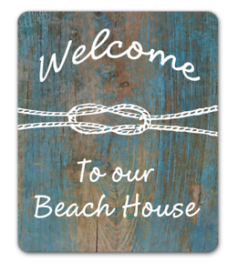 Details About Welcome To Our Beach House Sign Nautical Hanging Or Fixed Aluminium Metal