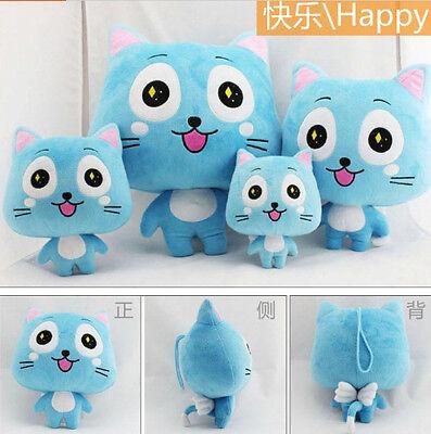 Plush toy stuffed doll Fairy Tail Happy blue cat kitten lover birthday gift 1pc