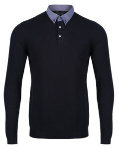 NEXT-Mens-Long-Sleeve-Knitted-Polo-Shirt-New-Button-Down-Collar-Cotton-Blend-Top
