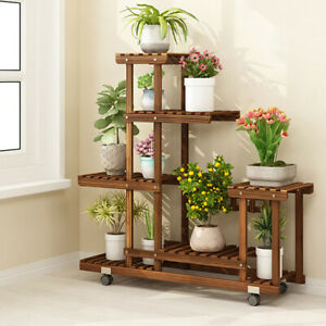 Strength-Sturdy-Wood-Plant-Stand-Indoor-Outdoor-Flower-Rack-Bookshelf-w-Wheels
