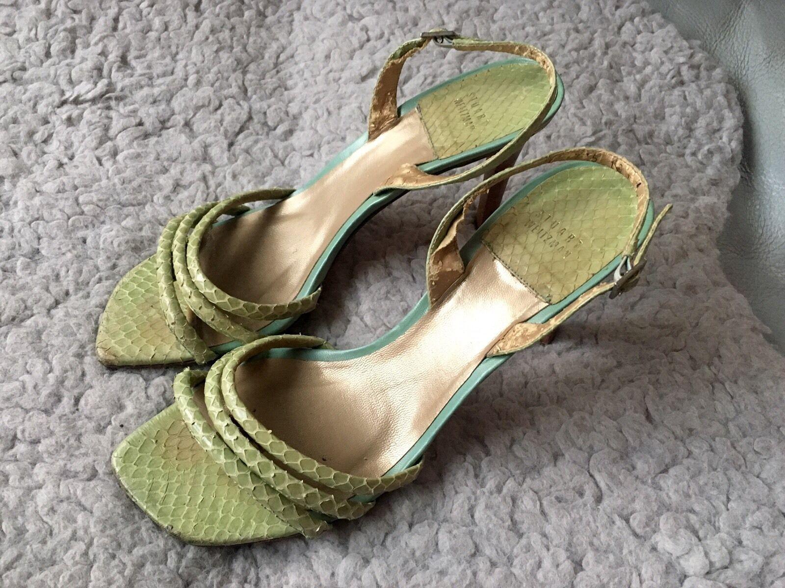 Stuart Weitzman Mint Grün Snakeskin and Leather Strappy Strappy Strappy Sandals, Größe 9.5 a8a19d